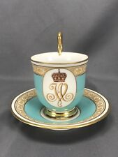 STUNNING! Hand Painted Monogram Footed KPM Berlin Tea Cup & Saucer 1913-1946