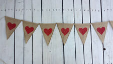 HEARTS FABRIC HESSIAN BUNTING WEDDING VINTAGE VALENTINES BABY PHOTO LOVE