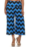 New Women's Plus Size Black Blue Chevron Gaucho (Capri) Pants Sizes 1X 3X 4X