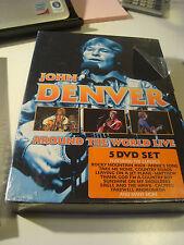 RAR BOX 5 DVD'S. JOHN DENVER. AROUND THE WORLD LIVE. STICKER