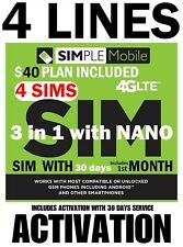Simple Mobile SIM WITH 🔥 FAMILY DISCOUNT 🔥 W/ 4 X $40 PLAN 30 DAYS SERVICE!