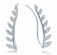 .925 Sterling Silver Cz Stone Cubic Zirconia Vines Leaves Earrings Studs SME2859