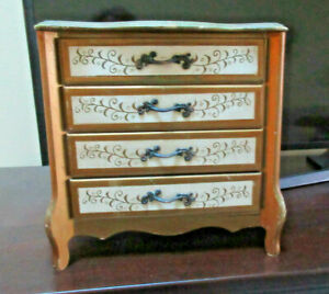Vtg Hand Painted Florentine Wooden Jewelry Chest Japan Shabby Chic