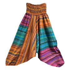 Pantalones bombachos claros multicolor rayas algodón Aladín falda-pantalón India