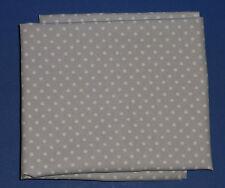 Fabric cotton poplin fat quarter in silver grey with 3mm white spots