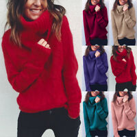 Women Winter Turtleneck Baggy Tops Chunky Knitted Baggy Sweater Jumper Shirt Hot