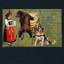 Schweiz BEAR & SAINT BERNARD / BÄR & BERHARDINER * Künstler-AK um 1900 E OSSWALD