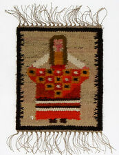 A small 70's Polish folk art Woman Flower seller wall hanging 31cm New Old Stock