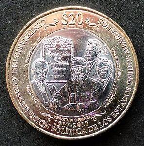 Mexico 20 Pesos Bimetallic Coin 2017 Centennial of Constitution. NEW COIN. BU..