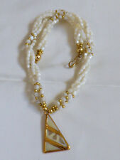 Gold tone clasp multi twist strand twisted Mother of Pearl beaded necklace