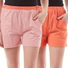 NEW 2 x Board Angels Striped/Plain Orange Womens/Girls Shorts - UK 10