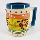 Vtg Mexican Folk Art Hand Painted Pottery Coffee Mug