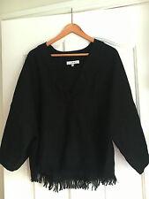$379 noir IRO GRENAD Lin Jacquard Boho Fringe Dolman Kimono Blouse Top FR 38