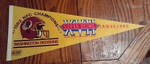 1983 Super Bowl 17 XVII Felt Pennant Washington Redskins NFL Rose Bowl NFC Cham