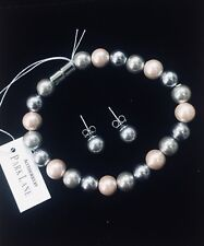 Matching Bracelet & Earrings gift set faux pearl pink silver grey magnetic clasp