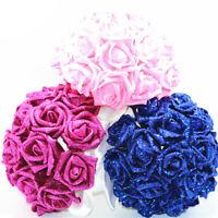 Wedding Bouquet Crystal Pearl Sequin Bridal Bridesmaid Rose Foam Flower Artifici
