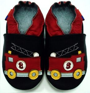 soft sole leather baby boy first walking shoes fire truck black 12-18 m