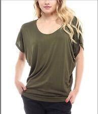 Women's Bellino Dolman Batwing Short Sleeve Top One Size Olive Green