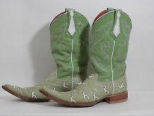 Mens sz 8 Green Cowboy Boots Ostrich Cowhide Bird Cutouts Mexico Trival
