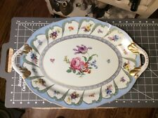 Rare Paris Royal Porcelain Hand Painted Platter Floral Pattern Gold Rim