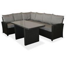 KMH® Polyrattan Sitzgruppe schwarz Lounge Essgruppe Rattanmöbel Gartensitzgruppe