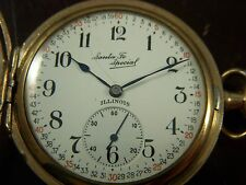 Illinois Santa Fe Triple Signed Pocket Watch 12s 21j Hunter Santa Fe Case Runnin