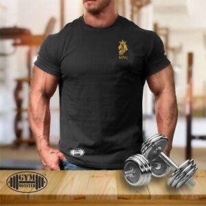 King Lion T Shirt Pocket Gym Clothing Bodybuilding Training Workout MMA Men Top