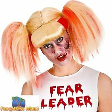 Zombie cheerleader sanglante couettes perruque femme ladies fancy dress costume