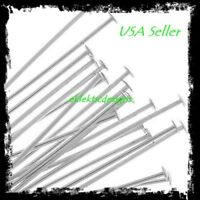 30mm 50pcs .7mm 304 Surgical Stainless Steel Headpins Flat Head Pins FREE SHIP