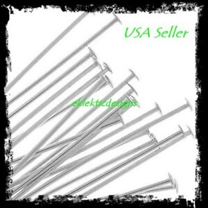 30mm 25pcs .7mm 304 Surgical Stainless Steel Headpins Flat Head Pins FREE SHIP