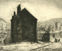 H. Cadwell - 20th Century Etching, Industrial Street Scene
