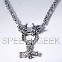 Handmade Steel Wolf Heads Viking Braid Chain Necklace Thor's Hammer Mjolnir