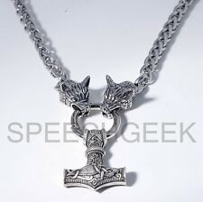 "Handmade Steel Wolf Heads Viking Braid Necklace Thor's Hammer Mjolnir 20"" (50cm)"