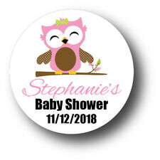 30 Pink Baby Girl Owl Baby Shower Personalized Stickers