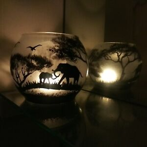 Candle Holder Savanna Hand Painted Mom Elephant And Her Baby