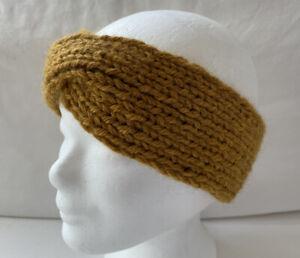 Twist Stirnband gestrickt Handarbeit Wolle/Alpaca gold/senf NEU