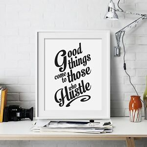 Hustle Inspirational Wall Art Print Motivational Quote Poster Decor Gift for him