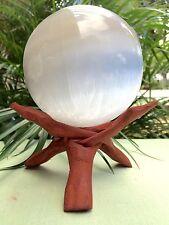 Extra Large Selenite Sphere Gemstone Specimen Sphere Reiki Chakra Heal. W/Stand