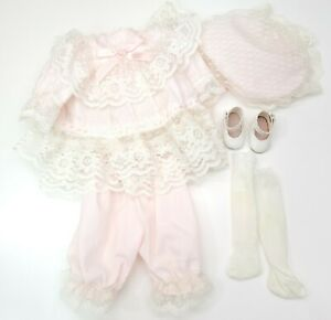 """Doll Clothes for 14"""" Porcelain Doll Vintage Pink & White Ruffle Lace Dress & Hat"""