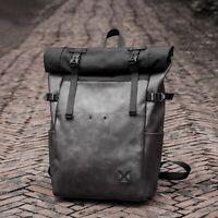 Men's PVC Foldover Backpack Rucksack Laptop Bag School Bag Travel Bag Retro