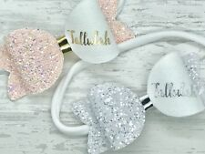 Baby Girls Personalised Small glitter Headband, Toddler Bow, Any Colour And Name