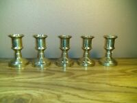 "Vintage Solid Brass Candle Stick Holders 2 3/4"" Italy Lot of 5"