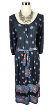 LEONA EDMISTON Dress - Floral Boho Navy Pink Vintage Scoop Button Tie Belt - 12
