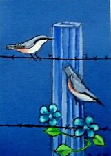 ACEO original miniature painting 'Barbed Wire Fence' 1 By AlisonE