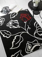 Décoratif Moderne Element Solo Floral tapis , noir/ rouge/ crème en 2 tailles