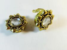 Cuff Link / Button Cover Stone On  Gold