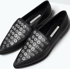 ZARA Silver Studded Grommet Real Leather Pointed Black Moccasin Flats Loafers 8