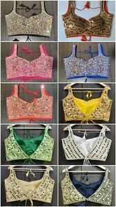 Indian Ready Made Stitched Saree Blouse Real Mirror Work Handmade Choli Top CC