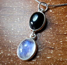 Black Onyx and Rainbow Moonstone Necklace 925 Sterling Silver Oval 4.2ct New