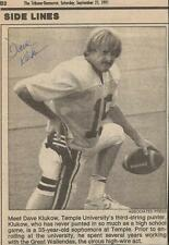 Dave Klukow Signed 1991 Newspaper Photo Clipping Temple 35 Year Old Punter